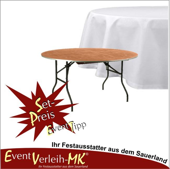 eventverleih set bankett tisch rund 122er mit tischdecke f r 6 personen. Black Bedroom Furniture Sets. Home Design Ideas