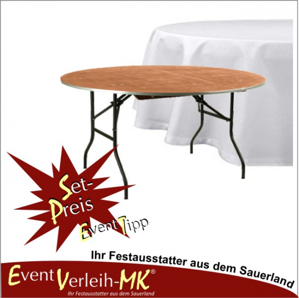 eventverleih set bankett tisch rund 152er mit tischdecke f r 8 personen kopie. Black Bedroom Furniture Sets. Home Design Ideas