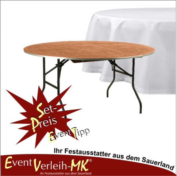 eventverleih set bankett tisch rund 183er mit tischdecke f r 10 personen. Black Bedroom Furniture Sets. Home Design Ideas