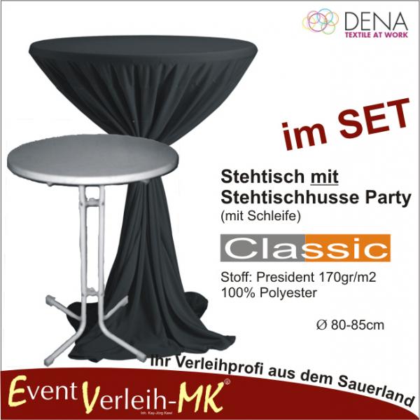 Eventverleih stehtisch stehtischhusse schwarz for Tischplatte marmoroptik